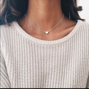 Silver Simple Heart Pendant Necklace